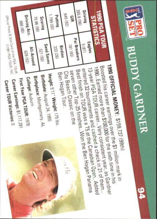 1991 Pro Set #94 Buddy Gardner RC back image
