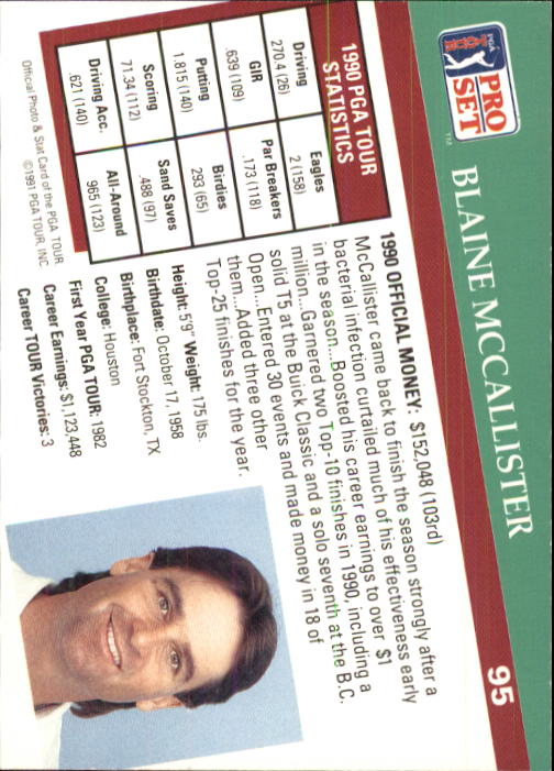 1991 Pro Set #95 Blaine McCallister RC back image