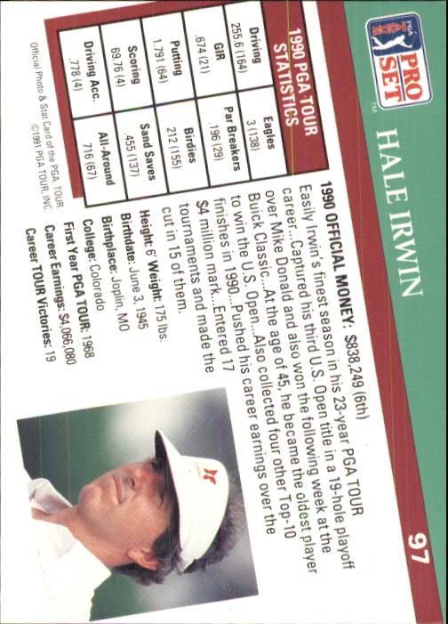 1991 Pro Set #97 Hale Irwin back image