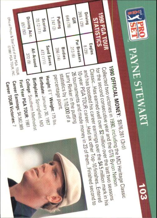 1991 Pro Set #103 Payne Stewart back image