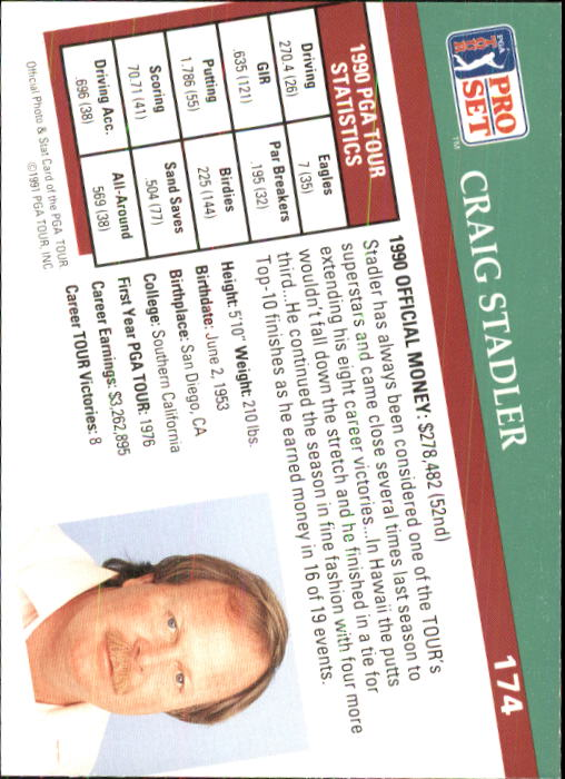 1991 Pro Set #174 Craig Stadler back image
