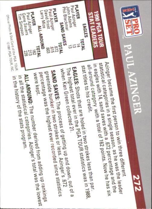 1991 Pro Set #272 Paul Azinger SL back image