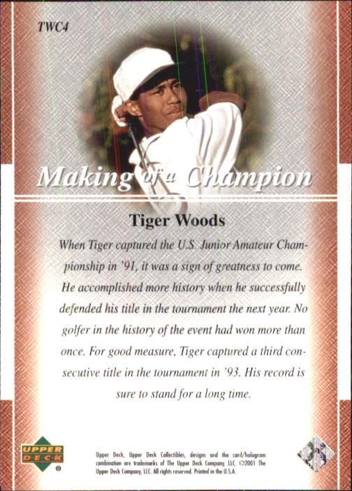 2001 Upper Deck Tiger Woods Collection #TWC4 Tiger Woods U.S. Jr. Champ back image