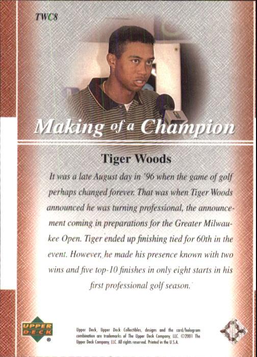 2001 Upper Deck Tiger Woods Collection #TWC8 Tiger Woods Turns Pro back image