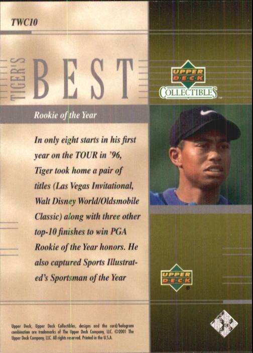 2001 Upper Deck Tiger Woods Collection #TWC10 Tiger Woods PGA ROY back image