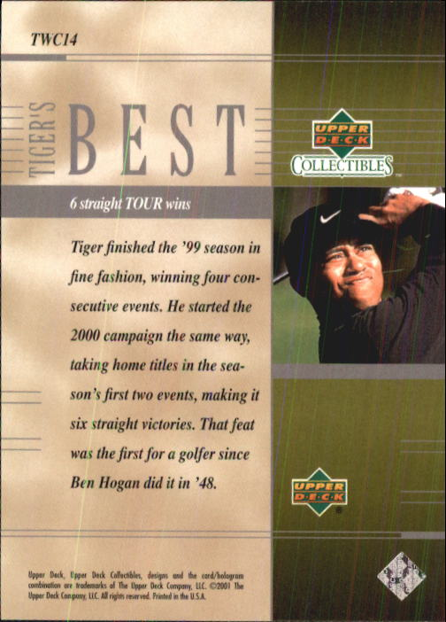 2001 Upper Deck Tiger Woods Collection #TWC14 Tiger Woods 6 Straight back image