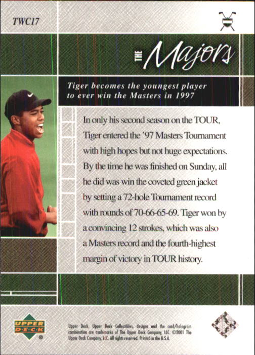 2001 Upper Deck Tiger Woods Collection #TWC17 Tiger Woods 1997 Masters back image