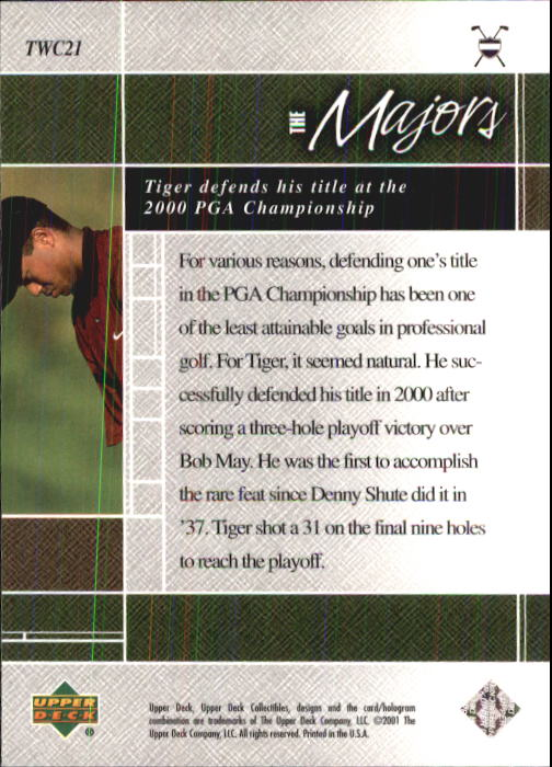 2001 Upper Deck Tiger Woods Collection #TWC21 Tiger Woods 2000 PGA back image
