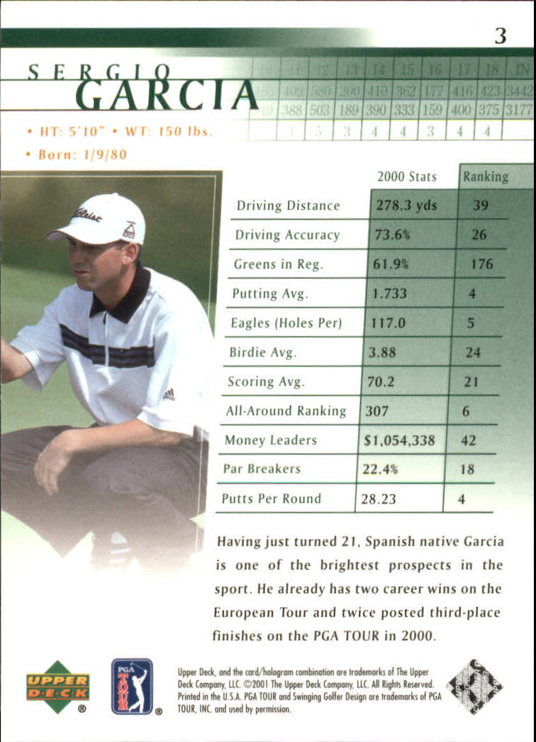 2001 Upper Deck #3 Sergio Garcia RC back image