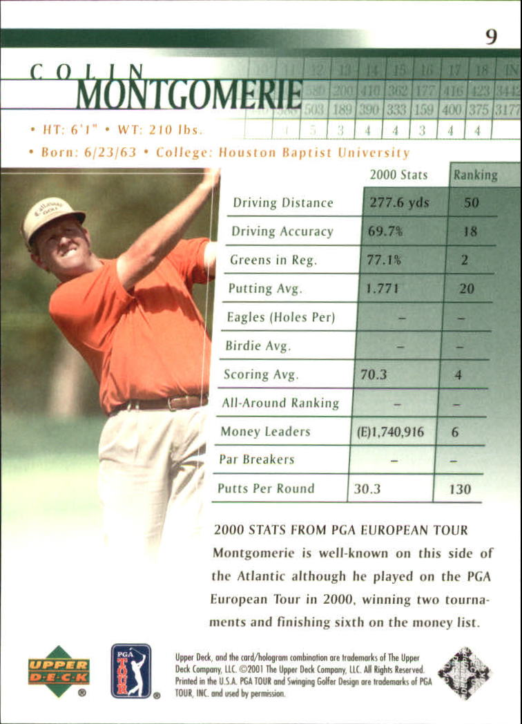 2001 Upper Deck #9 Colin Montgomerie back image