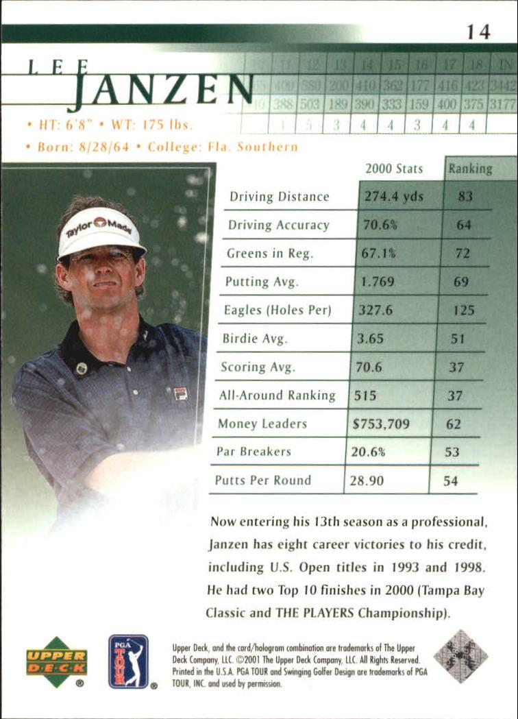 2001 Upper Deck #14 Lee Janzen back image