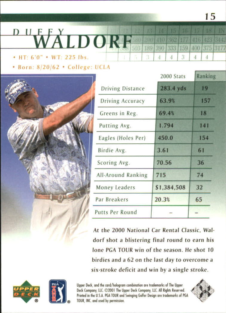2001 Upper Deck #15 Duffy Waldorf back image