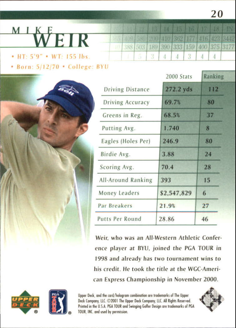 2001 Upper Deck #20 Mike Weir RC back image
