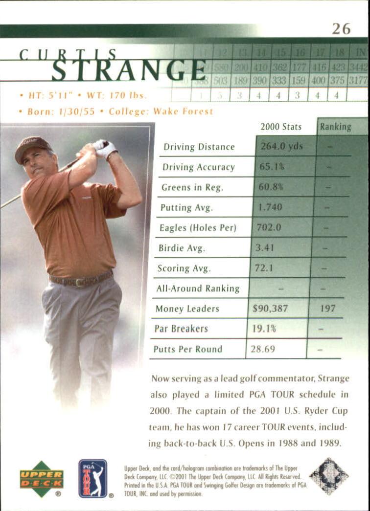 2001 Upper Deck #26 Curtis Strange back image