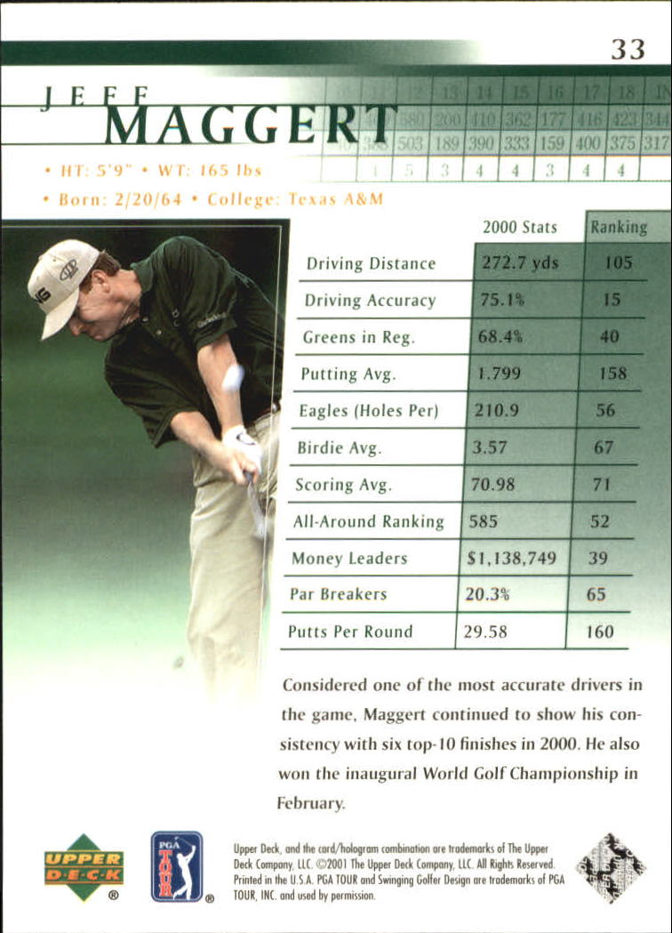 2001 Upper Deck #33 Jeff Maggert back image