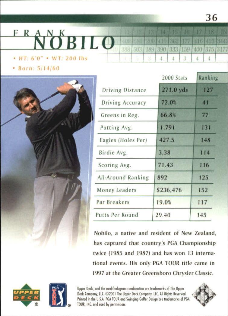 2001 Upper Deck #36 Frank Nobilo RC back image