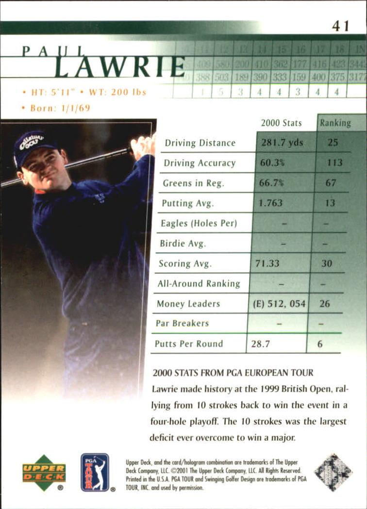2001 Upper Deck #41 Paul Lawrie RC back image