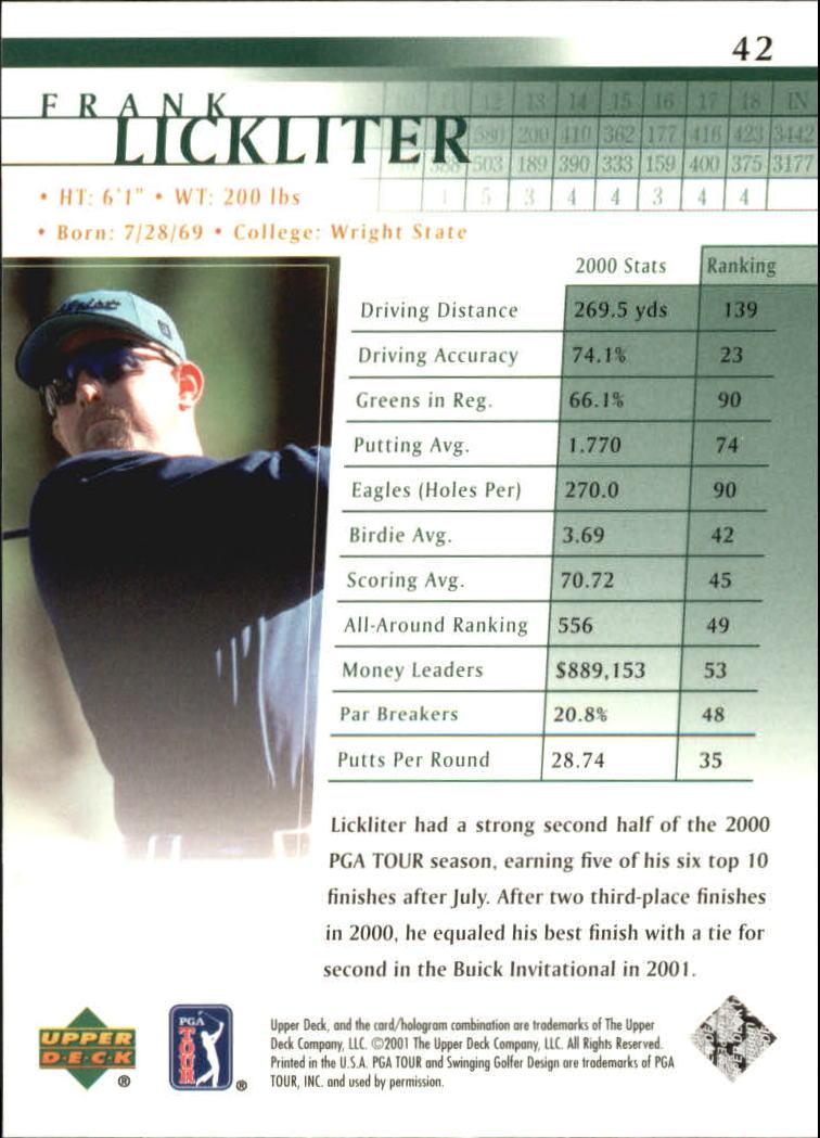 2001 Upper Deck #42 Frank Lickliter RC back image
