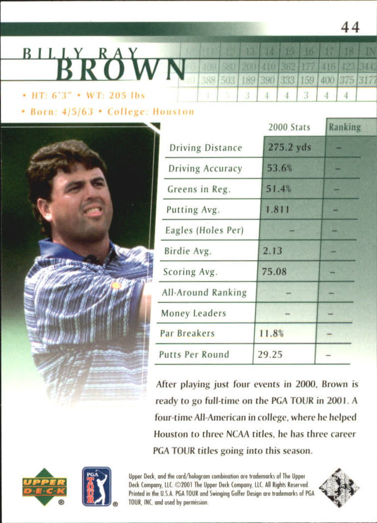 2001 Upper Deck #44 Billy Ray Brown back image
