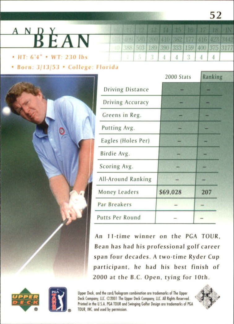 2001 Upper Deck #52 Andy Bean back image