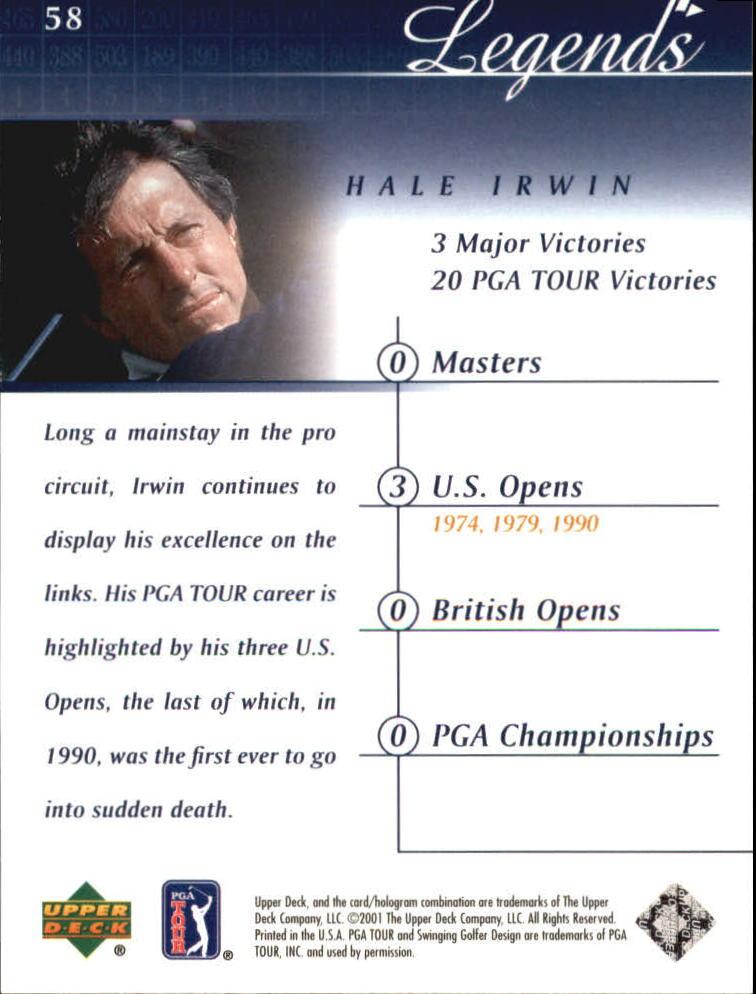 2001 Upper Deck #58 Hale Irwin back image
