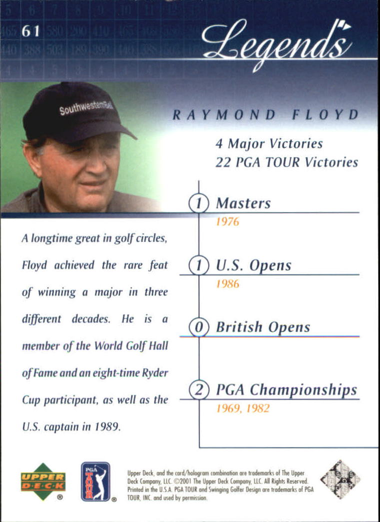 2001 Upper Deck #61 Raymond Floyd back image