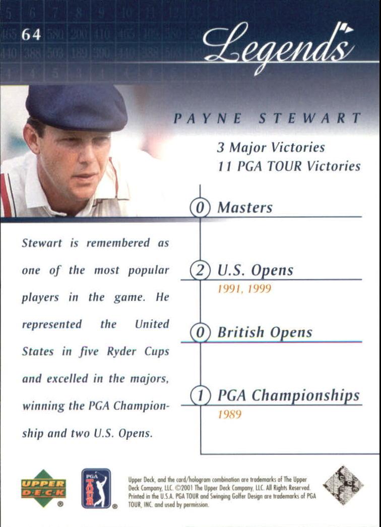 2001 Upper Deck #64 Payne Stewart back image
