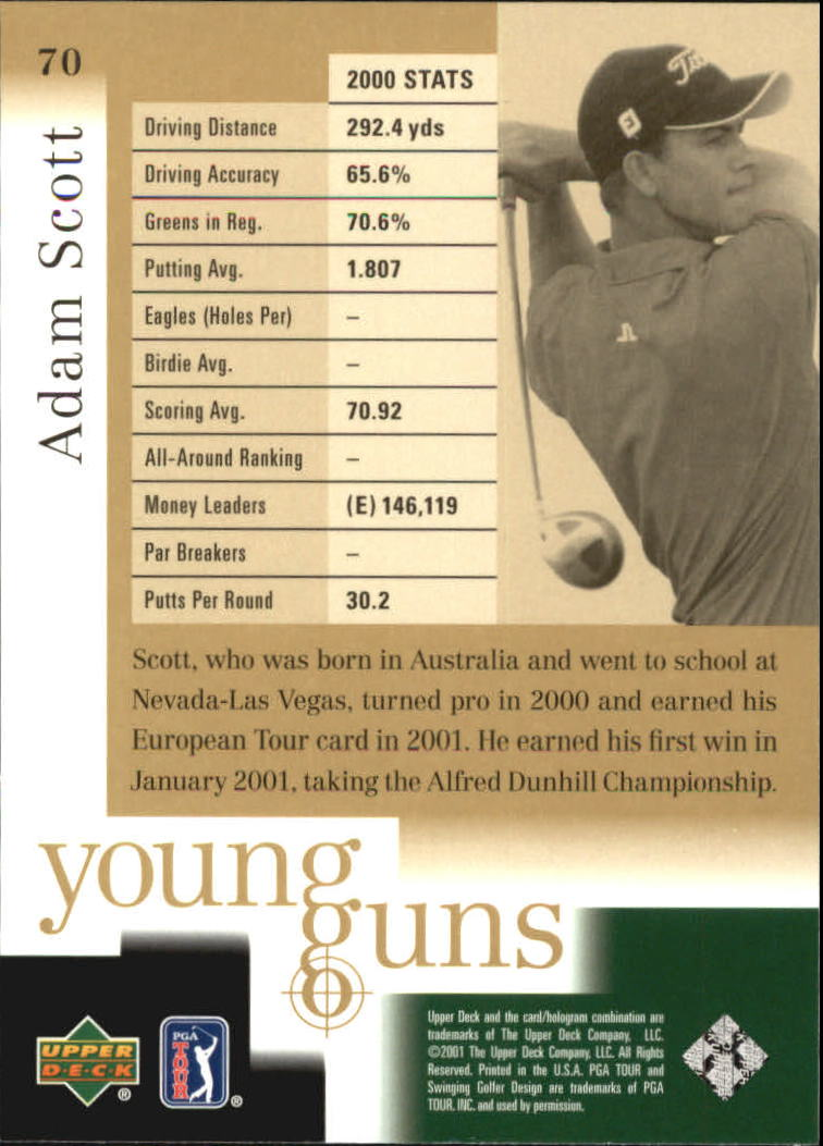 2001 Upper Deck #70 Adam Scott YG RC back image