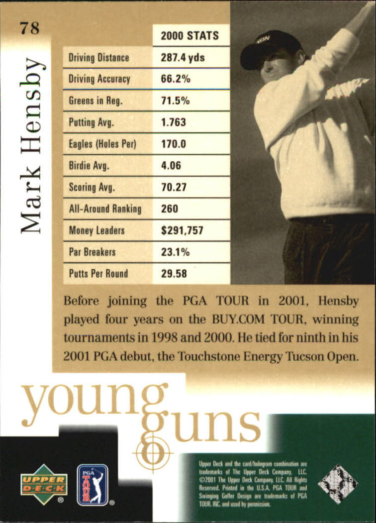 2001 Upper Deck #78 Mark Hensby YG RC back image