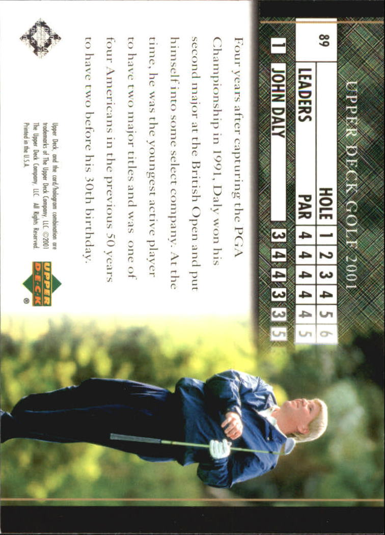 2001 Upper Deck #89 John Daly LB back image