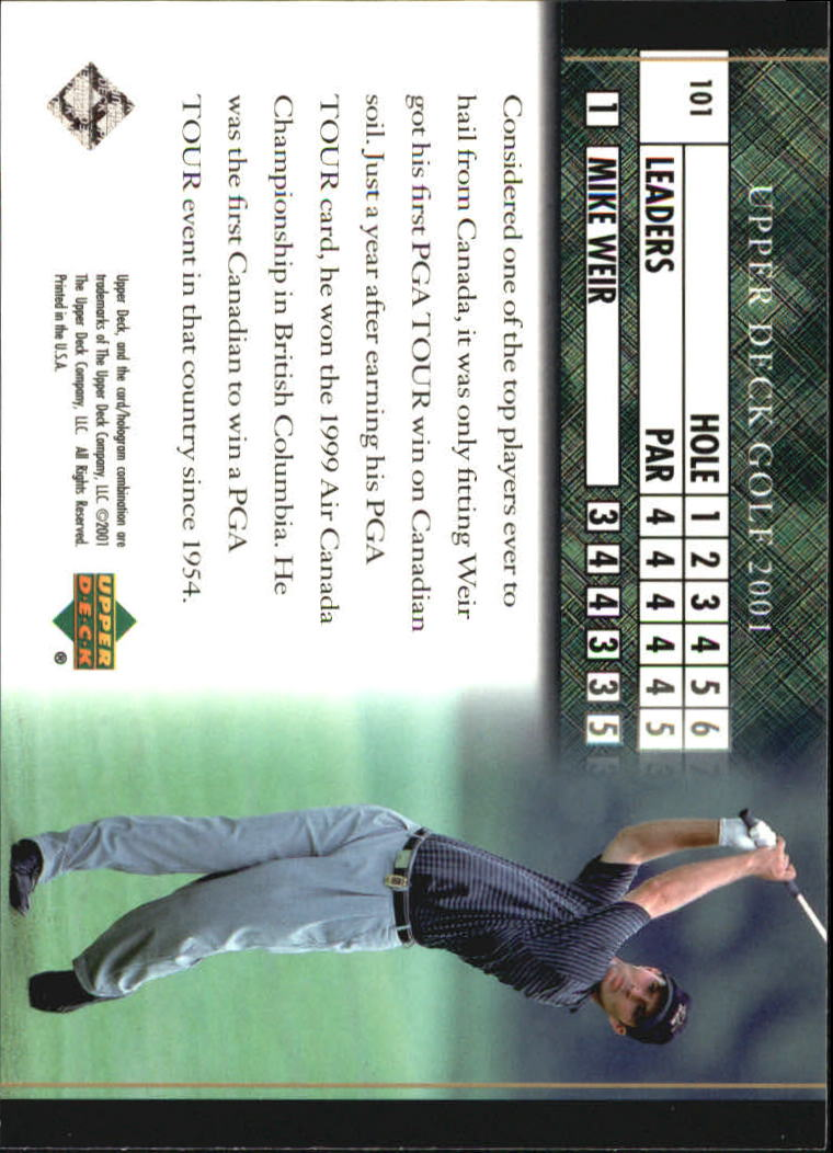 2001 Upper Deck #101 Mike Weir LB back image