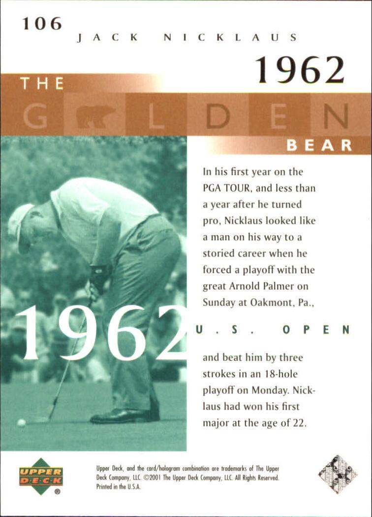 2001 Upper Deck #106 J.Nicklaus GB 62 US Open back image
