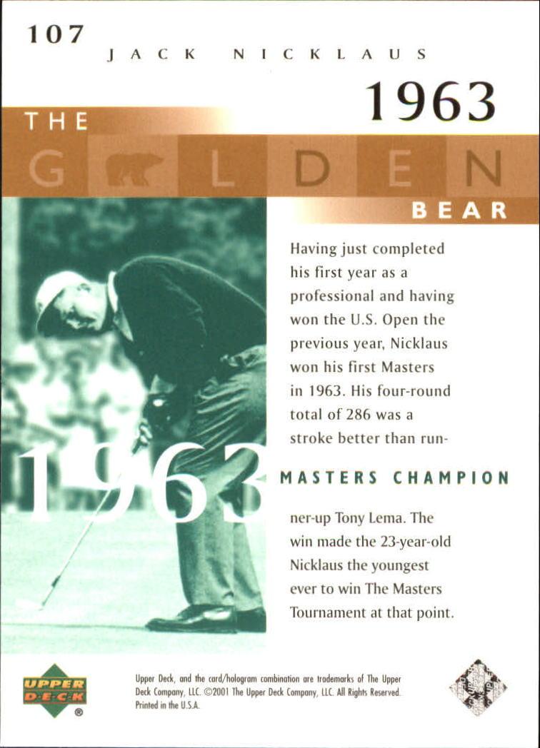 2001 Upper Deck #107 J.Nicklaus GB 63 Masters back image