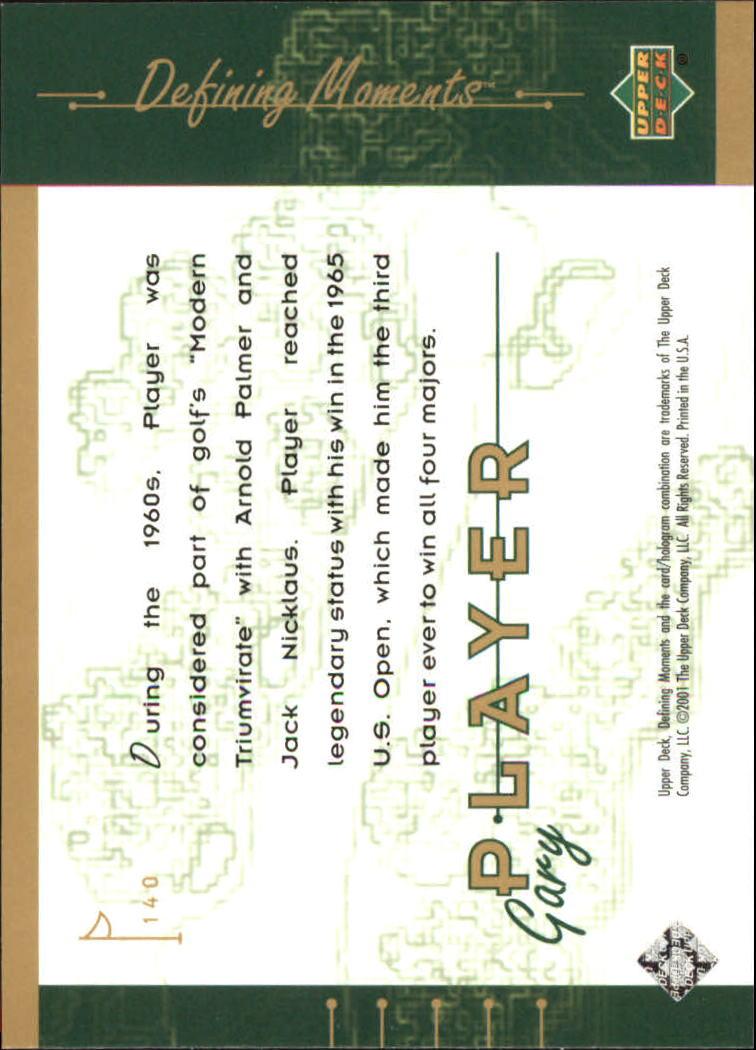 2001 Upper Deck #140 Gary Player DM back image