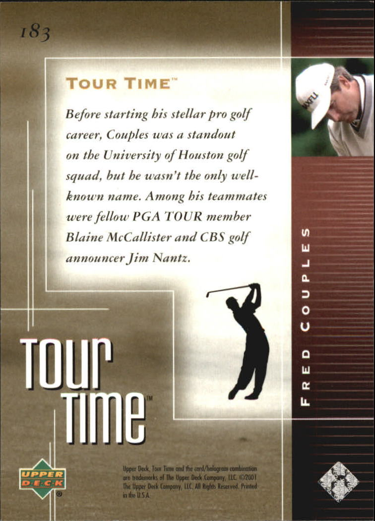 2001 Upper Deck #183 Fred Couples TT back image