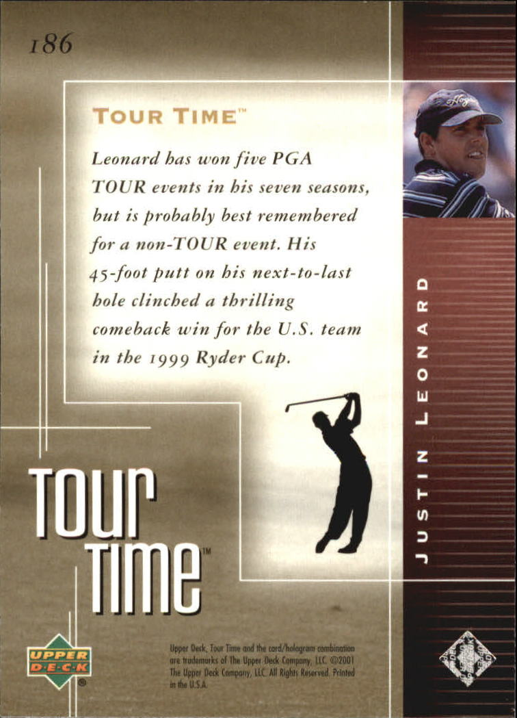 2001 Upper Deck #186 Justin Leonard TT back image