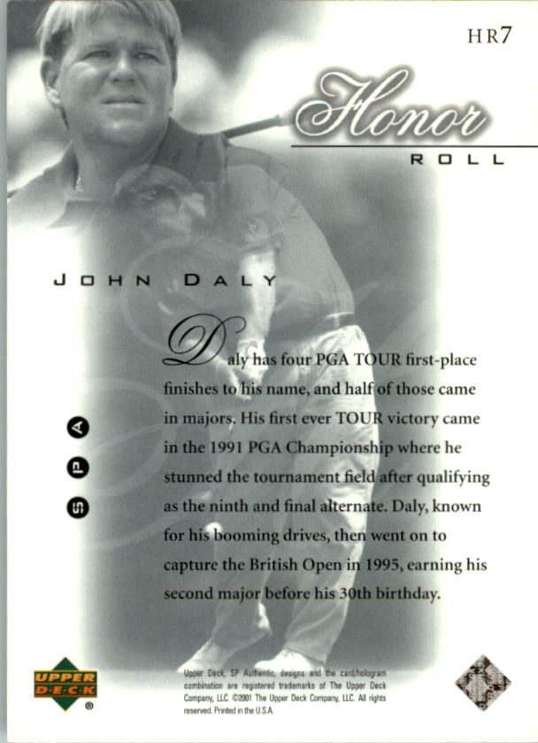 2001 SP Authentic Honor Roll #HR7 John Daly back image