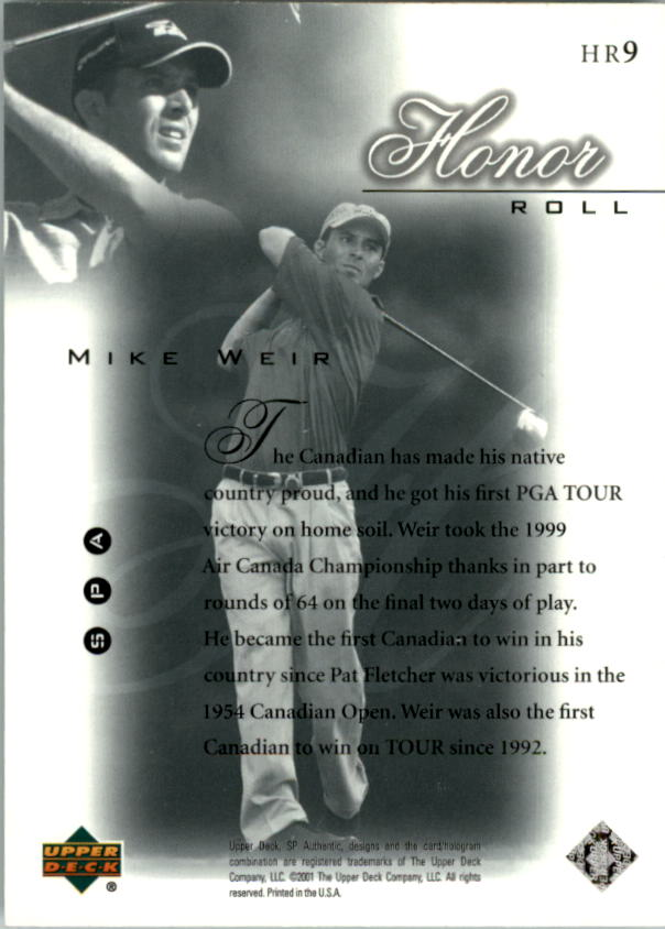2001 SP Authentic Honor Roll #HR9 Mike Weir back image