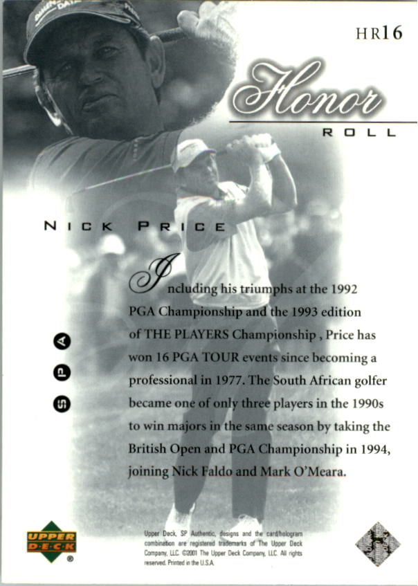 2001 SP Authentic Honor Roll #HR16 Nick Price back image