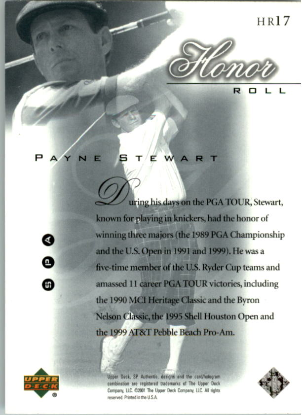 2001 SP Authentic Honor Roll #HR17 Payne Stewart back image