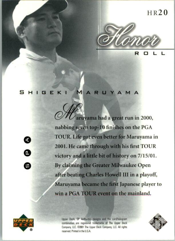 2001 SP Authentic Honor Roll #HR20 Shigeki Maruyama back image