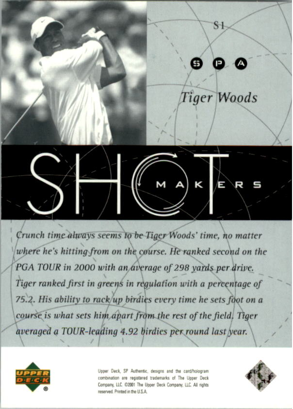 2001 SP Authentic Shotmakers #S1 Tiger Woods back image
