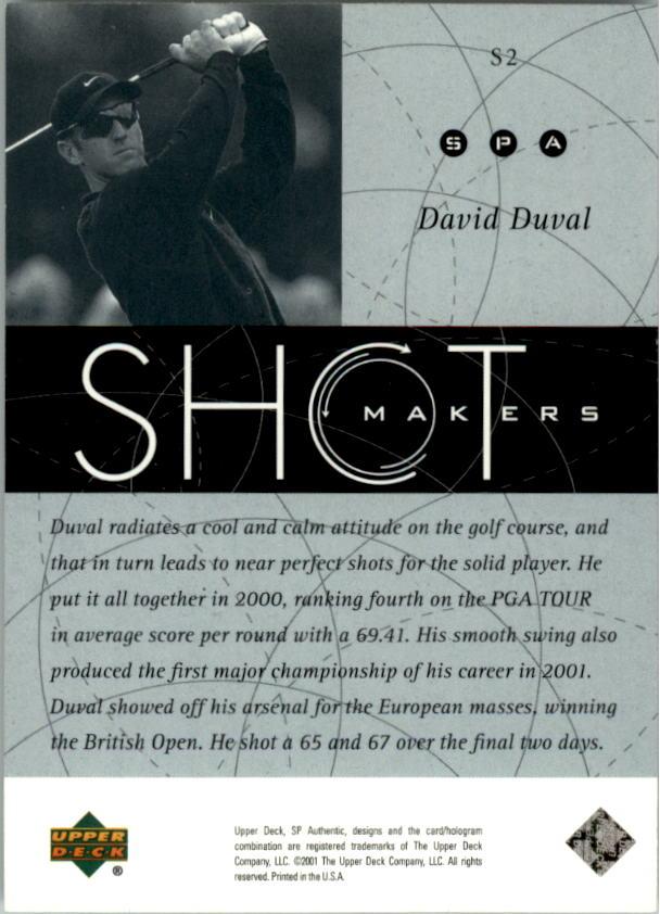 2001 SP Authentic Shotmakers #S2 David Duval back image