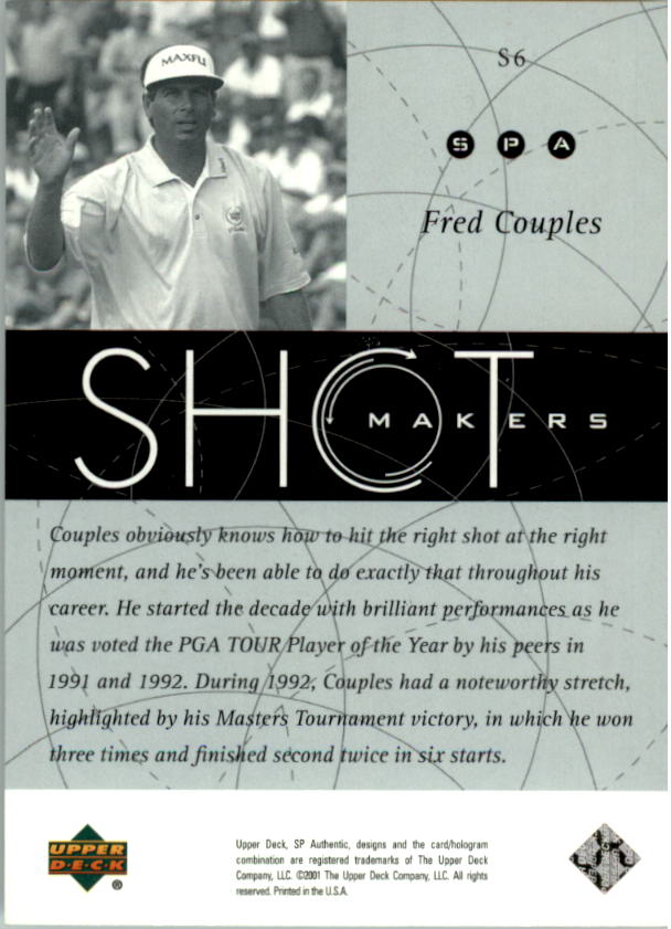 2001 SP Authentic Shotmakers #S6 Fred Couples back image