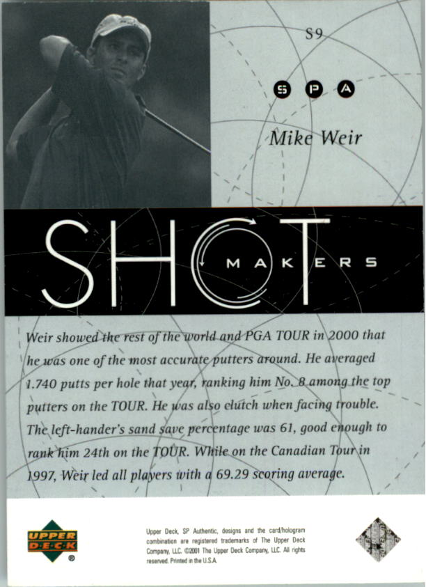 2001 SP Authentic Shotmakers #S9 Mike Weir back image
