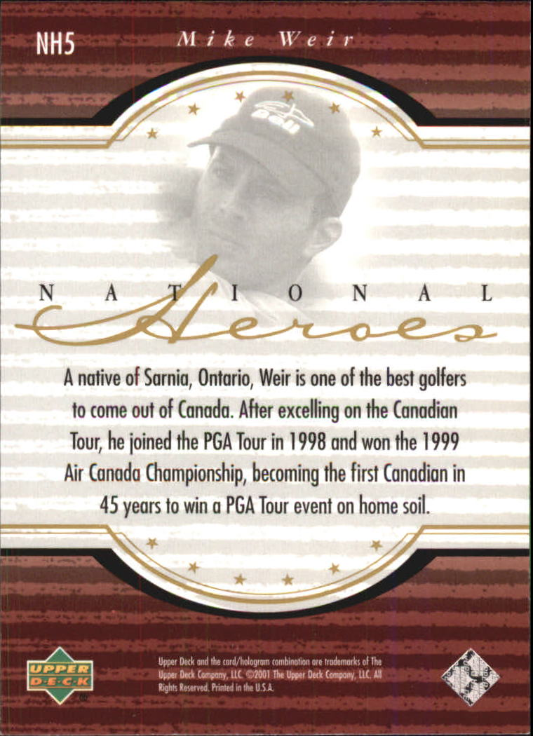 2001 Upper Deck National Heroes #NH5 Mike Weir back image