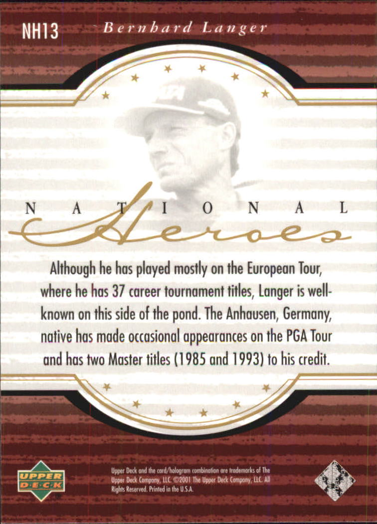 2001 Upper Deck National Heroes #NH13 Bernhard Langer back image