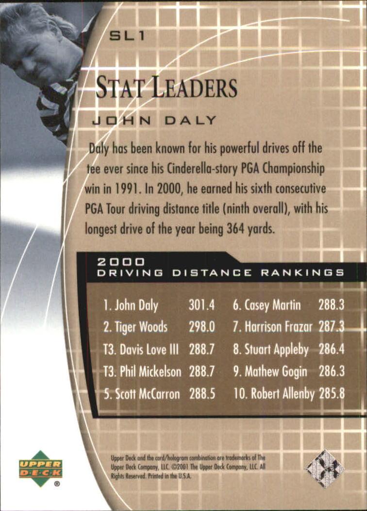 2001 Upper Deck Stat Leaders #SL1 John Daly back image