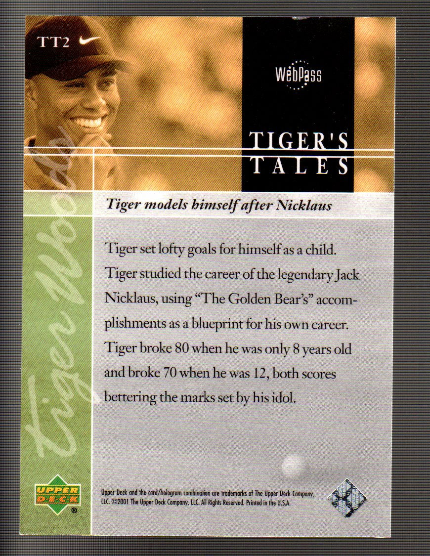 2001 Upper Deck Tiger's Tales #TT2 Tiger Woods back image