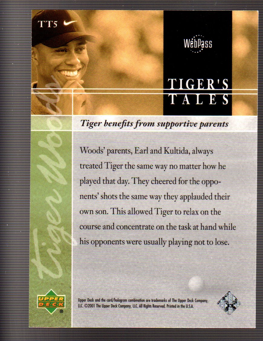 2001 Upper Deck Tiger's Tales #TT5 Tiger Woods back image